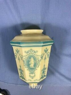 Antique Custard Glass Baby Blue Cameo Design Art Deco Light Shade 4 Fitter