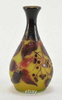 Antique D'Argental French Cameo Art Glass Cabinet Vase Signed Art Nouveau Style