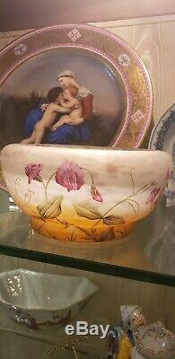 Antique Daum Nancy Cameo Art Glass Bowl Enameled Violets
