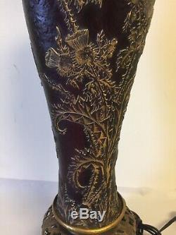 Antique Daum Nancy Cameo Glass Thistle Vase Cross Lorraine Converted To Lamp