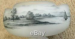 Antique Daum Nancy Dutch Harbor Bowl Circa 1910 Incredible Condition