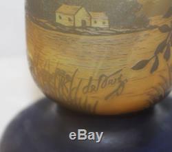 Antique DeVez Cameo Art Glass Vase House Near Water Scene