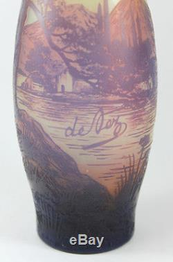 Antique DeVez Signed French Cameo Art Glass Vase