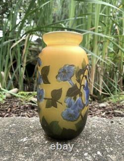 Antique Emile Galle Amber And Blue Trumpet Flower Cameo Glass Vase 7.75