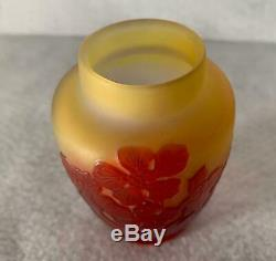 Antique Emile Galle French Cameo Art Glass Signed Original Old Vase Red Flowers