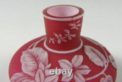 Antique English Red Cameo Miniature Vase withButterfly