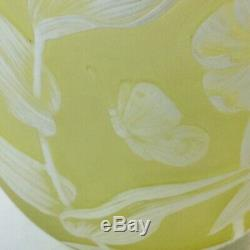 Antique English Thomas Webb Yellow White Floral Butterfly Cameo Glass Vase