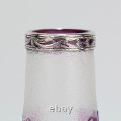Antique French Burgun & Schwerer Silver Overlay Purple Art Glass Cameo Vase GL