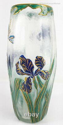 Antique French Cameo Carved Art Nouveau Glass Daum Nancy Galle Mount Joye Iris