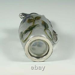 Antique French Christofle Gallia Art Nouveau Cameo Glass Silver Plate Claret Jug