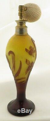 Antique French Galle Cameo Glass Art Nouveau Floral Motif Perfume Bottle
