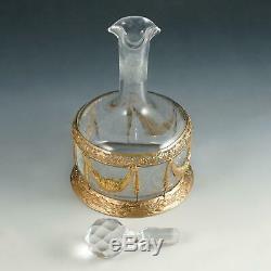 Antique French Saint Louis Acid Etched Cameo Glass Gilt Bronze Liquor Decanter