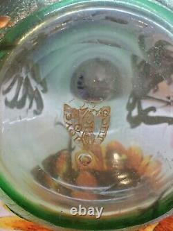 Antique French Signed Mont Joye Large Sea Green Cameo and Gilt Vase circa 1905
