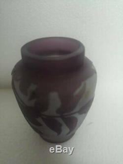 Antique Galle ART NOUVEAU Cameo Art Glass Floral Vase Miniature Size 8cm