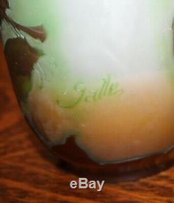 Antique Galle Cameo Art Glass Floral Vase Pilgrim or flask shaped 8 1/2