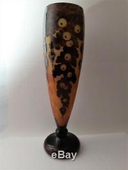 Antique La Verre Francais Cameo Art Glass 19 Vase, Signed