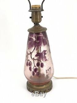 Antique Legras French Cameo Signed Art Glass Lamp Grape & Leaf Orig Finial 22