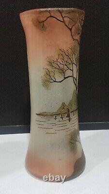 Antique Legras Scenic Trees Lake Glass Vase Painted Enamel 11.25 Signed Depose