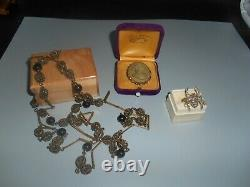 Antique Lot Rare Lava Carved Cameo Art Deco Brass Necklace Sterling Spider Ring