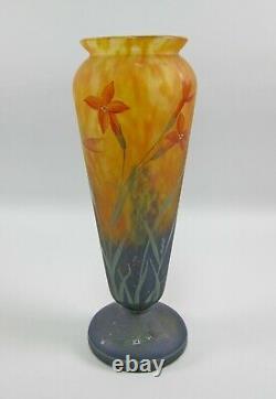 Antique Mado/Daum Nancy French Cameo Glass Vase Orange Clematis Signed 11