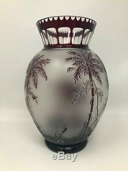 Antique Moser Art Glass Ruby Red Cameo Animor Elephants Vase 9 1/4