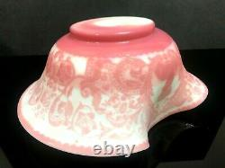 Antique Mt. Washington Cameo Glass White Pink Brides Basket Bowl