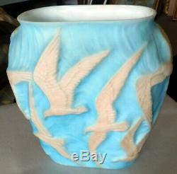Antique Phoenix Consolidated Satin Blue Seagull Cameo Glass Pillow Vase