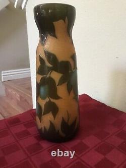 Antique Richard Loetz Signed Amber Cameo Art Glass Vase Flowers EXCLNT