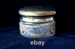 Antique Saint Louis crystal Empire style cameo glass vanity set c 1900