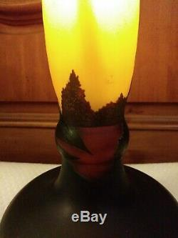 Antique Signed Galle Tall Cameo French Art Glass Floral Lamp Base 18 Dragonfly