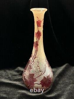 Antique Signed Legras Cameo Glass French Vase Acid Etched Raspberry Leaf Motif