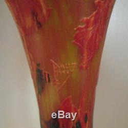 Antique Signed Monumental Daum Nancy Cameo Glass Red/Yellow Iris Vase, 19 Tall