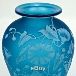 Antique Thomas Webb & Sons Blue Cameo Art Glass Vase with Morning Glories GL