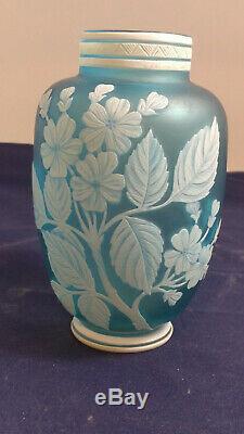 Antique Thomas Webb & Sons Opaque to Blue Cameo Art Glass Vase