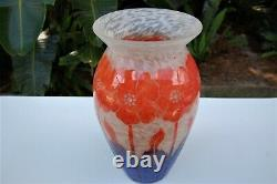 Antique Vintage Authentic 1930's Degue' French Cameo 1930 Extra Large Art Glass