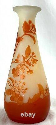 Antique Vtg GALLE CAMEO TANGERINE Orange Art Glass 7 Flower Floral Signed VASE