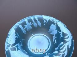 Antique signed Thomas Webb acid etched cameo glass pedestal footed bowl in blue