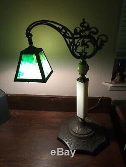 Antiques Bridge Arm Lamp Green Slag Glass Optional Shades Slag Art Glass Cameo