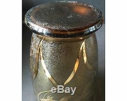 Art Deco 1930s Czech Bohemian or French Gold Koi Fish Cameo Art Glass Vase