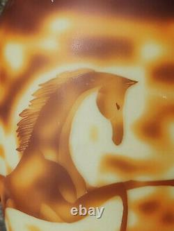 Art Deco Cameo Acid Etched Art Glass Amber Color Vase Galloping Wild Horse 1920