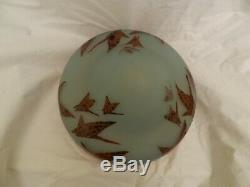 Art Deco Charles Schneider Cased Cameo Glass Lamp Shade Acid Etched Charder