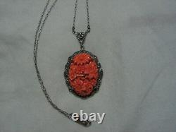 Art Deco Sterling Silver, Marcasites, Coral Glass Flower Cluster Cameo Necklace
