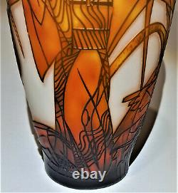 Art Deco Woman with Cranes Cameo Glass Vase After Emile Galle Art Glass Unusual