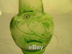 Art Glass Green Cut Back Cameo Vase