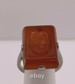 Art Nouveau 18k wg Orange Intaglio Glass Lady Profile Cameo Ring size 6.75