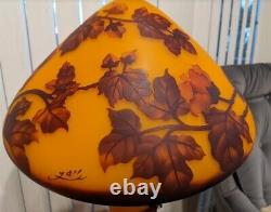 Art Nouveau 23 Galle Style Cameo Glass Mushroom Shade Lamp With Fall Leaves