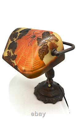 Art Nouveau Bronze Spider Galle Style CAMEO GLASS Bankers Desk Lamp Ornate Base