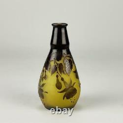 Art Nouveau Cameo Glass'Fuschia Vase' by Emile Galle