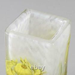Art Nouveau Cameo Glass'Iris Flower Vase' by Daum Freres