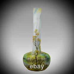 Art Nouveau Cameo Glass'Summer Landscape' Vase by Daum Frères Circa 1900